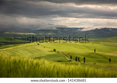 Tuscany landscape with farm near Pienza, Italy - stock photo