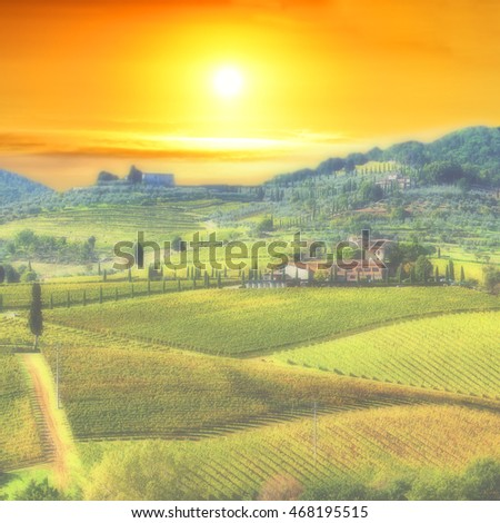 Tuscany landscape with fog at dawn