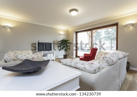 Tuscany - living room with white furniture - stock photo