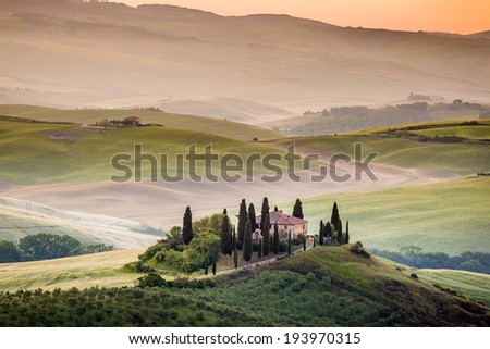 Tuscany, morning landscape in Val d'Orcia, Podere Belvedere