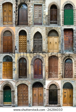 Tuscany Old Elegant Obsolete Vintage Doors Stock Photo