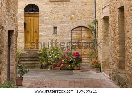 Tuscany old street - stock photo
