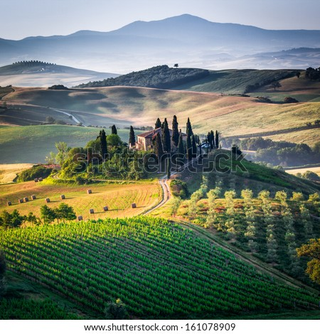 Tuscany, panoramic landscape - Italy - stock photo