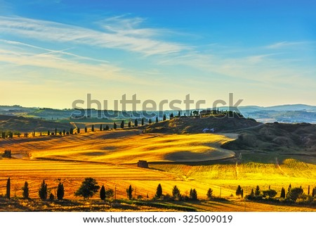 Tuscany, rural landscape. Countryside farm, cypresses trees and green field. Italy, Europe. - stock photo