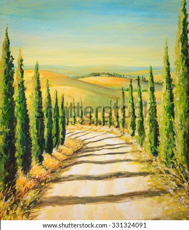 Tuscany: rural landscape with road,fields and hills.Picture created with acrylic colors. - stock photo