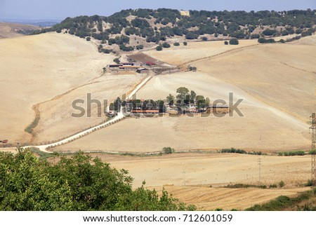 Tuscany rural landscape with yellow fields and agricultural farm, Italy.