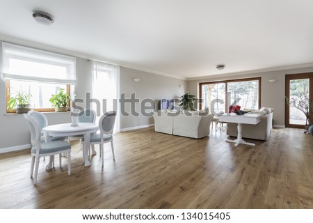Tuscany - Spacious bright living room interior - stock photo