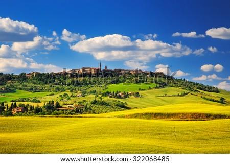 Tuscany spring, Pienza italian medieval village. Siena, Italy. - stock photo