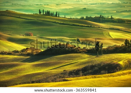 Tuscany spring, rolling hills on misty sunset. Rural landscape. Green fields and farmlands. Italy, Europe - stock photo