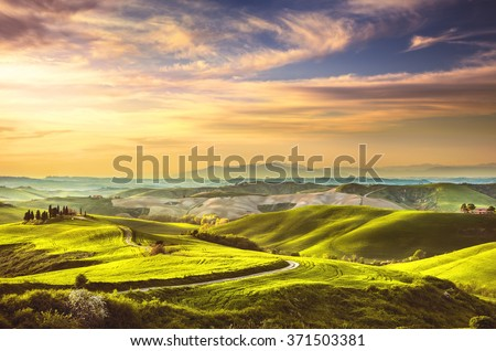 Tuscany spring, rolling hills on sunset. Rural landscape. Volterra Italy, Europe - stock photo
