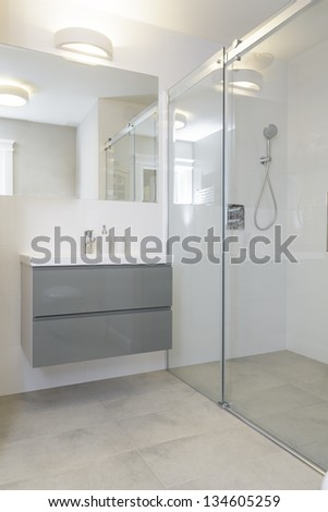 Tuscany - stylish bathroom with a shower - stock photo