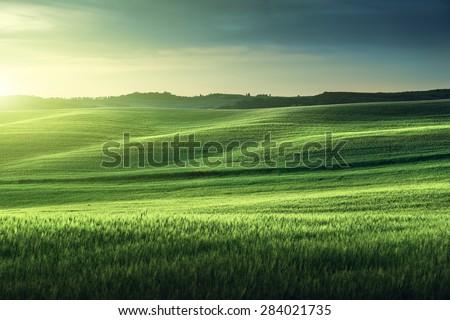 tuscany sunset, Italy - stock photo