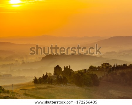 Tuscany Village Landscape near Florence on a Foggy Morning, Italy - stock photo