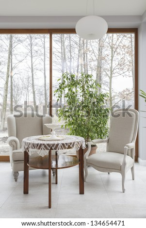 Tuscany - vintage table and two armchairs - stock photo