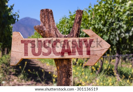 Tuscany wooden sign with winery background - stock photo