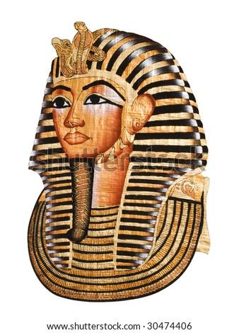 Tutankhamen mask paint, isolated with clipping path - stock photo