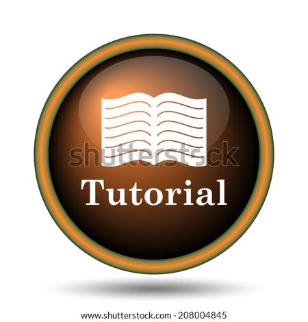 Tutorial icon. Internet button on white background.  - stock photo