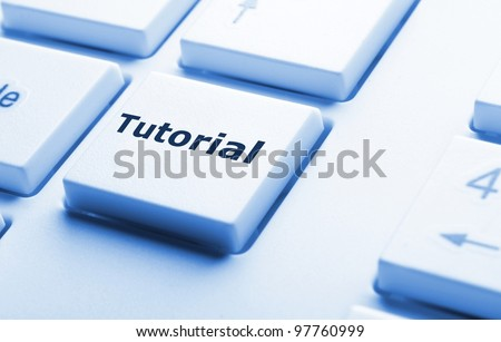 tutorial or e learning concept with key on computer keyboard - stock photo