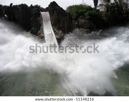 Tutuki splash, Port Aventura amusement park, Spain, Katalonia, Tarragona - stock photo