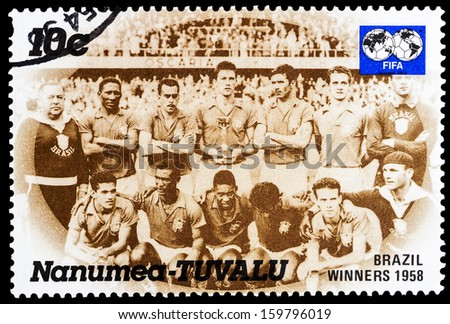 TUVALU - CIRCA 1980: A stamp printed in Tuvalu shows football team of Brasil, world cup 1958 winners , circa 1980  - stock photo