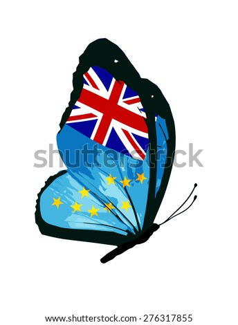 Tuvalu flag butterfly - stock photo