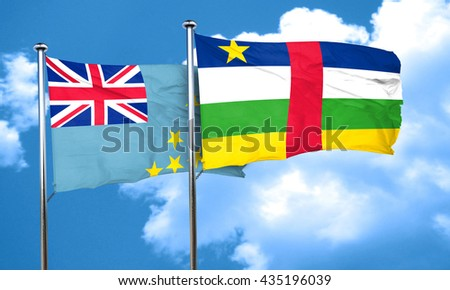 Tuvalu flag with Central African Republic flag, 3D rendering