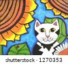 Tuxedo Cat Enjoying  Sunflowers in a Garden - stock photo