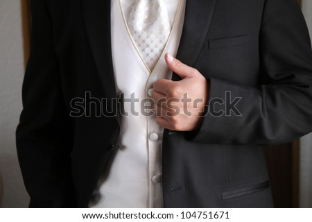 Tuxedo / Standing groom in a black tuxedo. Image was taking during a wedding. - stock photo