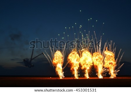 TUZLA,ROMANIA - JULY 02 : pilots performing at Tuzla airshow Aeromania on July 02, 2016 in Tuzla, Romania, the final fireworks show - stock photo