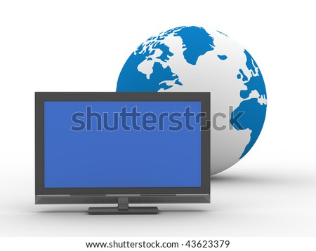 TV and globe on  white background. Isolated 3D image - stock photo