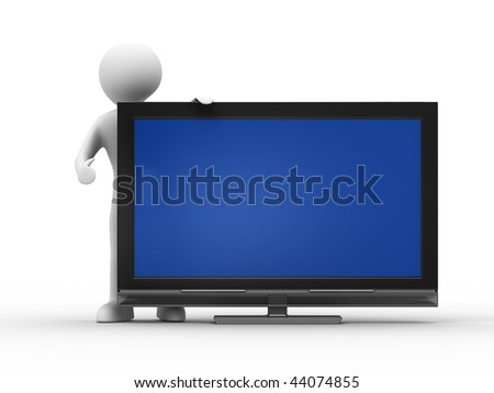 TV and man on white background. Isolated 3D image - stock photo