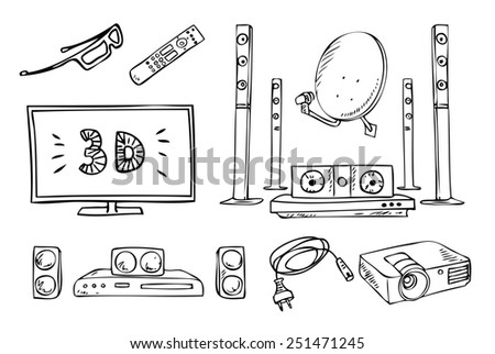 tv and sound household appliances set - stock photo