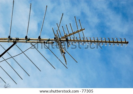 TV Antenna With Icicles - stock photo
