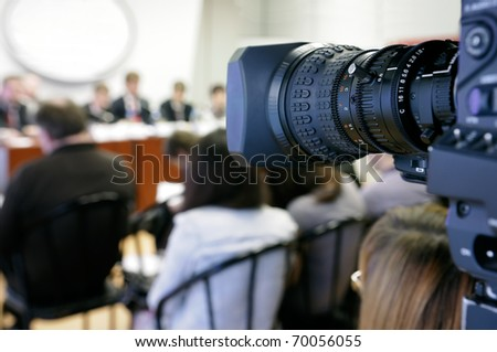 TV at press conference. - stock photo