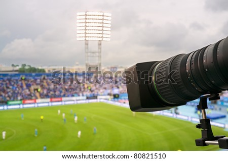 TV at the soccer. - stock photo