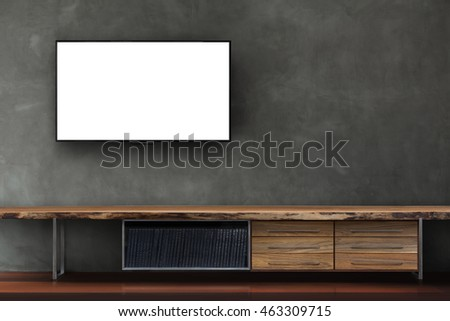 Tv blank screen on concrete wall with wooden media furniture in living room modern loft style