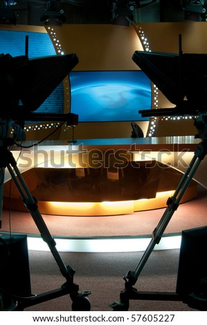TV broadcast studio for producting news and talkshow - stock photo