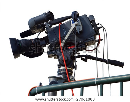 TV Camera isolated with clipping path - stock photo