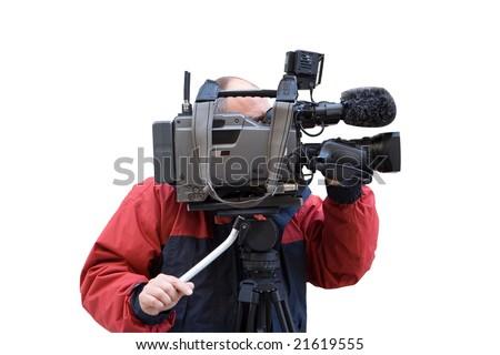TV camera man - stock photo