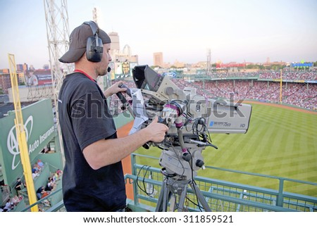 TV cameraman shoots Historic Fenway Park, Boston Red Sox, Boston, Ma., USA, May 20, 2010, Red Sox versus Minnesota Twins, attendance, 38,144, Red Sox win 6 to 2 - stock photo
