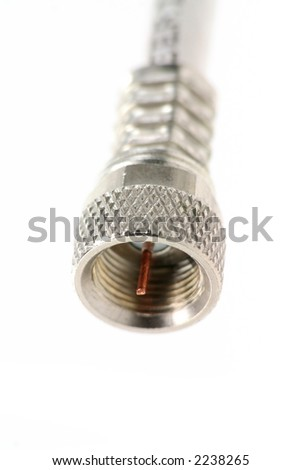 tv coaxial connector close up, - stock photo