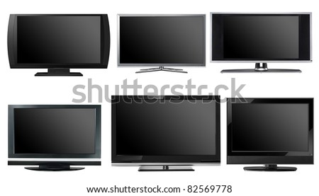 TV displays / monitors, 6 different models, isolated - stock photo