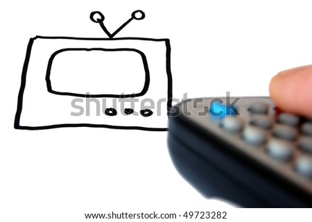 TV drawing and remote control in hand . - stock photo