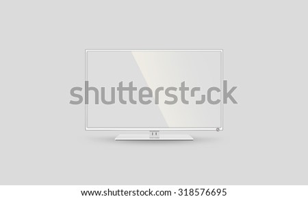 TV flatscreen lcd, plasma realistic illustration. White HD monitor mock up. Television multimedia panel screen. Good show your business presentation on flat display mockup. Home Tv stand in studio. - stock photo