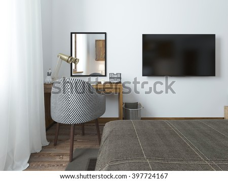 TV Hanging On The Wall And Desk In The Bedroom In The Loft. Fabric  Comfortable