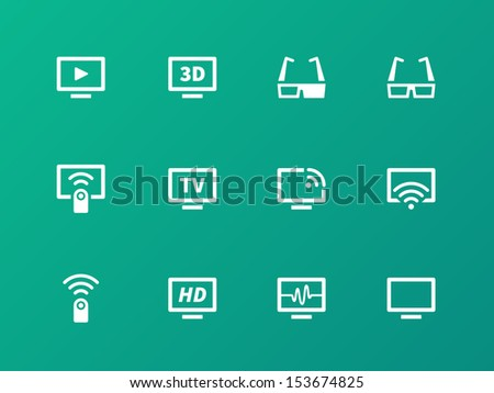 TV icons on green background. See also vector version. - stock photo