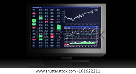 TV Illustration: business graphics on TV, the stock exchange trading - stock photo