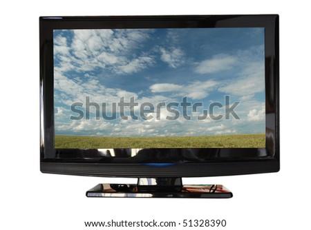 Tv isolated on white - stock photo