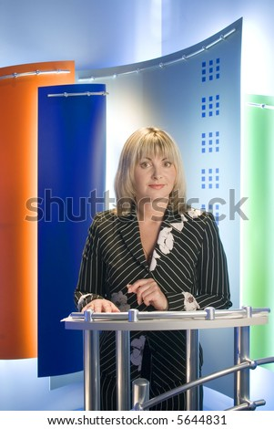 tv journalist in the studio - stock photo