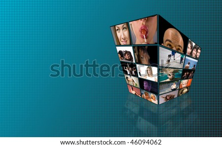 TV lcd wall with different channels on screens with background - stock photo